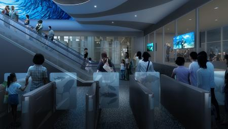 Cube Oceanarium Chengdu China Entry Foyer Render